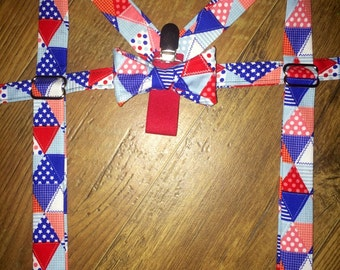 All American Boy/red white blue/Boys Bow Tie Suspender set for boys. Perfect for pictures, birthdays, smash cake pictures and ring bearers