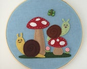 Embroidery Hoop Art Wall Hanging -Snail and Mushroom Garden Party