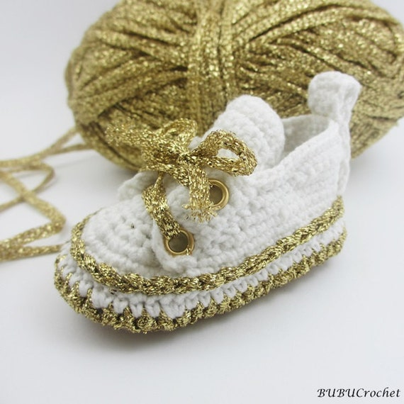 Gold baby shoes Crochet Baby Shoes Crochet Baby Booties