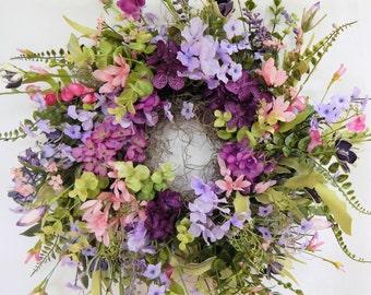 Summer Wreath, Primitive Country Cottage Wreath,Flower Wreath, Centerpiece,Front Door Wreath,Plum& Pink Wreath,Flower Wreath-Choice of Sizes