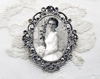 CUSTOM Wedding Bouquet Photo Charm #6 / Oval Antique Silver Memorial Bridal Keepsake
