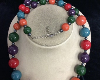 Vintage Long Colorful Graduated Beaded Necklace