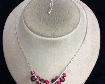 Vintage Shades Of Pink Glass Beaded Necklace