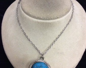 Vintage Two Sided Faux Turq/Indian Head Pendant Necklace