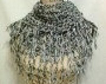 Black and White Tweed Crochet Infinity/Cowl Scarf with Fringe
