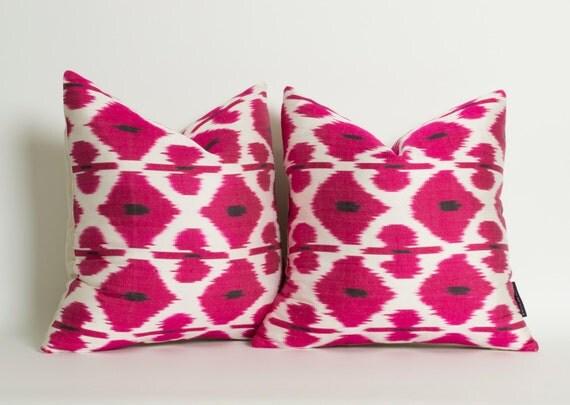 Pink white pillows candy pink pillows ikat pillowcase hot pink pillow