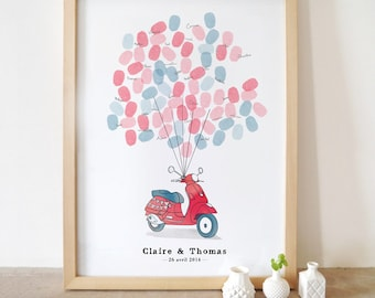 Fingerprints guest book - Vespa scooter 'Just married'
