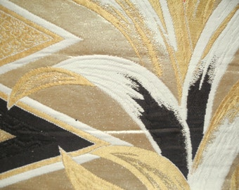 Vintage silk Japanese obi panel/brocade persimmon/gold 32cm x 77cm (Y403)