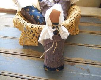 Stump Doll - Primitive Doll - Rag Doll -Primitive Shelf Sitter - Primitive Bowl Filler - Ornies - Bowl Fillers - Primitive Decor-Doll -Blue