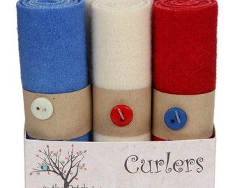 """Wool Curlers in Freedom color group from In the Patch Designs 4"""" x 16"""" piece of hand overdyed felted wool"""