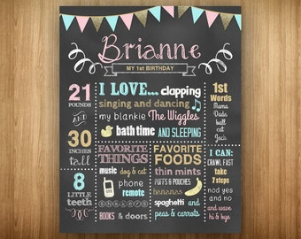 Girl 1st Birthday Pink Blue Gold Poster Chalkboard Stats Favorites Weight Height Teeth