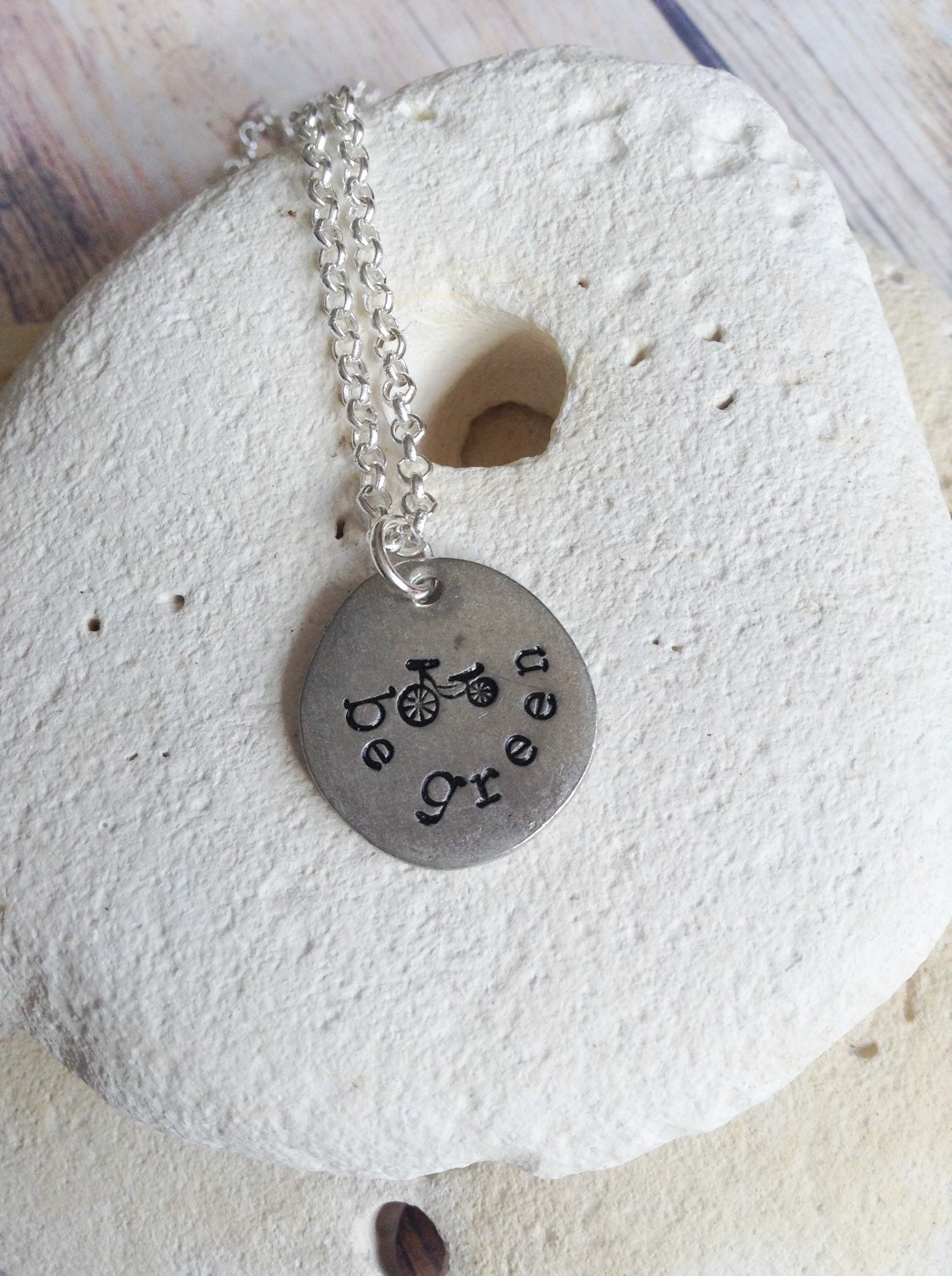 Be green environmentalist necklace, bike necklace, cycle pendant, vegan jewelry, eco friendly jewellery