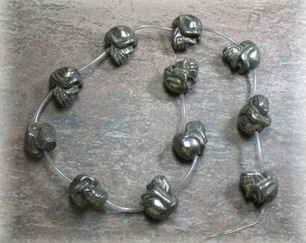 Pyrite Skull Beads - 11 Beads - Item B0135