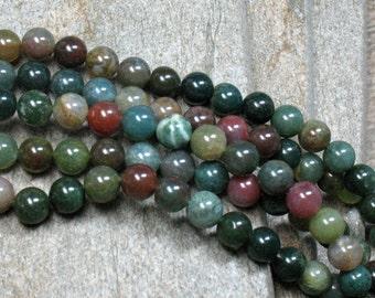 "Fancy Jasper Beads, 8 mm, 15"" strand - Item B0363"