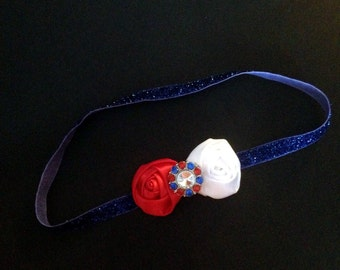 Patriotic 4th of July Headband-Red/White Satin Rosette-Rhinestone Center-Glitter Headband