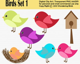 Birds Clipart For Personal and Commercial Use - Digital Clip Art  - Instant Download, bird clipart, birds nest