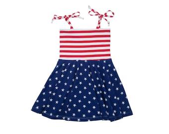 Circle Skirt Dress, Girls Dress, Baby Dress, Toddler Dress, Beach Dress, Summer Dress, Memorial Day, 4th of July, Stars and Stripes Dress