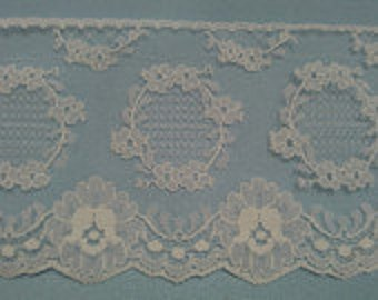 3 6/8 Inches Wide White Lace - This Price is For 1 Yard Lace  ---- L03