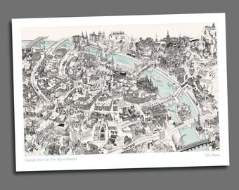 Bird's Eye View Map of Budapest (Black & White) - Giclée Print