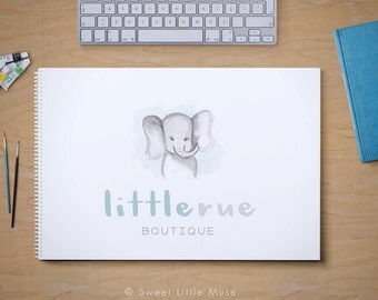 Elephant Logo Design - watercolor logo - elephant logo - boutique logo - photography logo