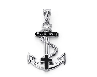 Sterling Silver Anchor Cross Pendant, Anchor Pendant, Cross Pendant, Anchor Jewelry, Cross Jewelry, Religious Jewelry, Cross, Anchor