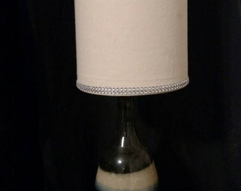 Hand made wheel thrown recycled lamp and shade, black, green, and cream colors