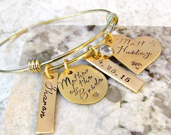 Mother of the Bride Personalized Hand Stamped Gold Bangle Bracelet - Wedding