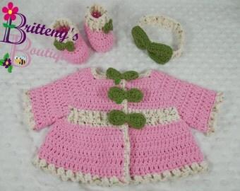 Baby Girl Pink Sweater / Pink Baby Girl Cardigan Sweater / Pink Baby Girl Bow Sweater / Baby Girl Pink Layette Set / Baby Shower Gift / 3 Mo