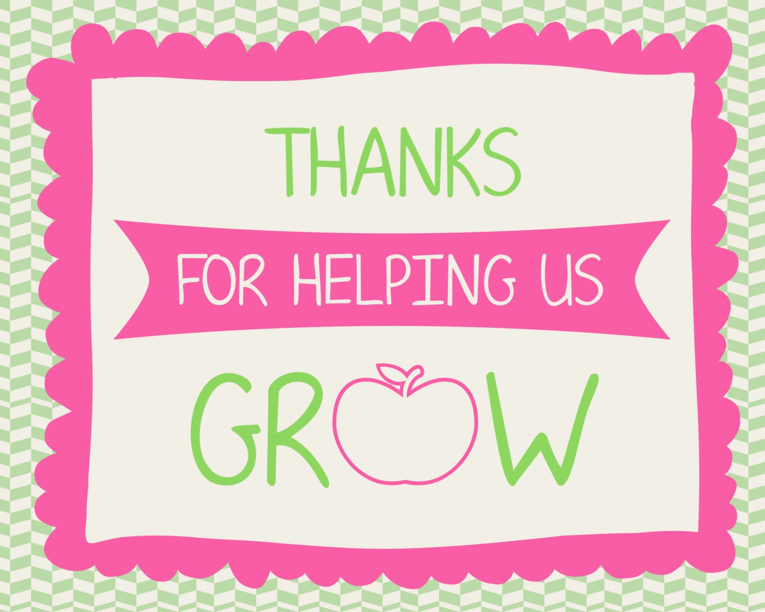 Priceless image pertaining to thank you for helping us grow printable