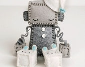 Sleeping Robot Plush in Blue - Sleepy Robot Nursery Decor -  Geek Baby Robot - Robot Nursery