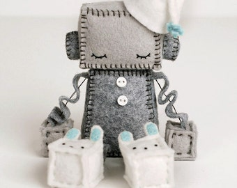 Sleeping Robot Plush in Blue - Sleepy Robot Nursery Decor -  Geek Baby Robot - Robot Nursery