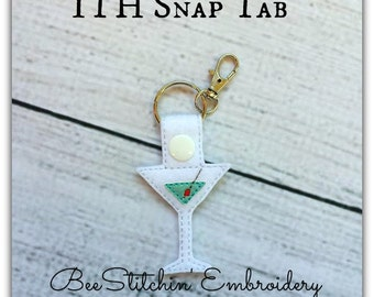 Martini ITH Snap Tab - 4x4 Embroidery Design - INSTANT DOWNLOAD