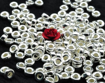 925 Sterling silver spacer wheel wholesale handmade jewelry  smooth beads in 3.5 mm diameter X 1.8mm thickness