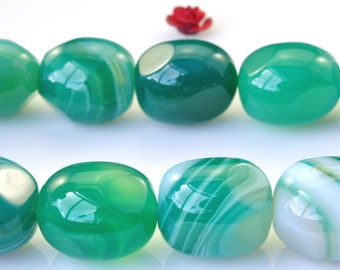 15 inches of Banded Green Agate smooth nugget beads in 13x15mm