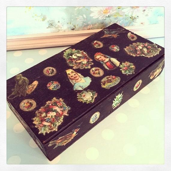 Victorian floral scrap wooden glove box by nicholasandsteele