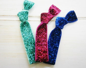Set of 3 Glitter Hair Tie Package by Crimson Rose Cottage - Turquoise, Dark Pink and Royal Blue Glitter Hair Ties that Double as Bracelets