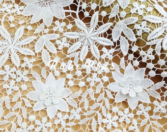 White floral appliqué lace fabric- 3D Floral Applique Lace Fabric - White Floral Lace - L146