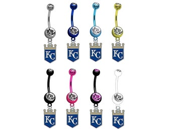 Kansas City Royals PREMIUM TITANIUM Anodized w/ Gem Sexy Belly Navel Ring (Pick Your Color)