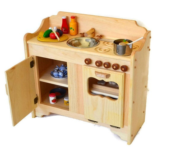Wood Play Kitchen: Pretend Play Wooden Play Kitchen Waldorf Toy By