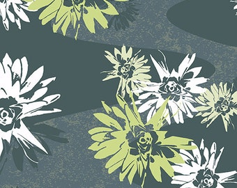 1/2 yard Reverie by Lori Mason for Andover Fabrics Gray and green floral