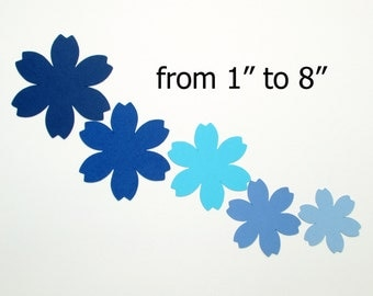"Paper Flowers/ Blue colors/ Large paper flower die cuts/ 25pc set / from 1""- 8""/ Scrapbook flowers/ wedding flowers"