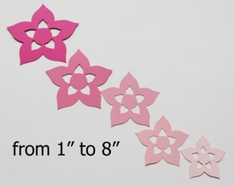 """Paper Flowers/ Pink colors/ Large paper flower die cuts/ 25pc set / from 1""""- 8"""""""
