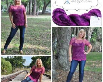 Mesh Berry Crochet Pullover Bamboo So Fine Yarn Pattern Kit