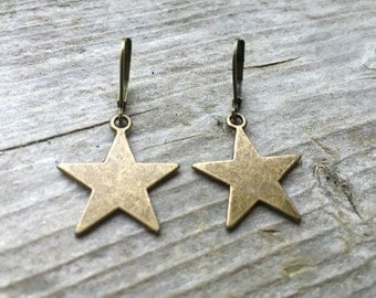Brass Star Earrings With Lever Backs