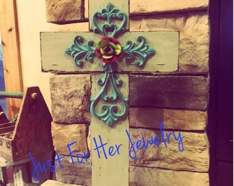 Rustic Stand Crosses,Rustic Cross,Shabby Chic Cross