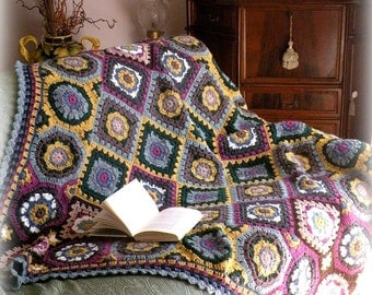 Colorful crochet granny squares blanket, multicolor crochet throw afghan,  crochet bedspread.