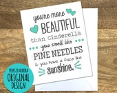 "Set of 3 Bridal Party ""You're More Beautiful than Cinderella"" Bridesmaids inspired card"