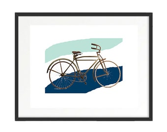 Vintage Bike, Old School Bike, Vintage Bicycle, Mint and Navy Print, Soft Color print, Download Print, 1930's Bike, Old Timey Bike, Bike Art