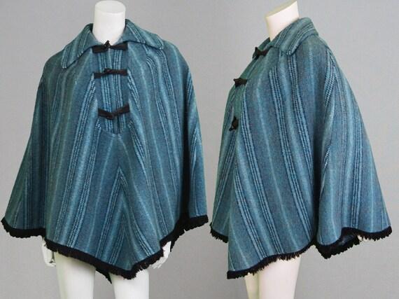 vintage 60er jahre 70 cape mantel womens poncho mod jacke blau. Black Bedroom Furniture Sets. Home Design Ideas