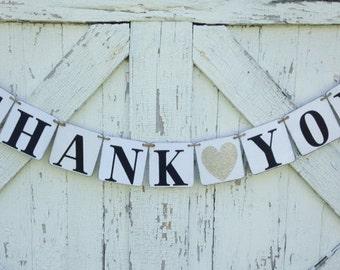 Thank you banner, wedding decor, photo prop, thank you cards
